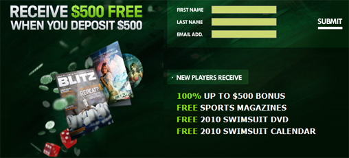 Casino offers a $500 bonus for a 500 dollar deposit
