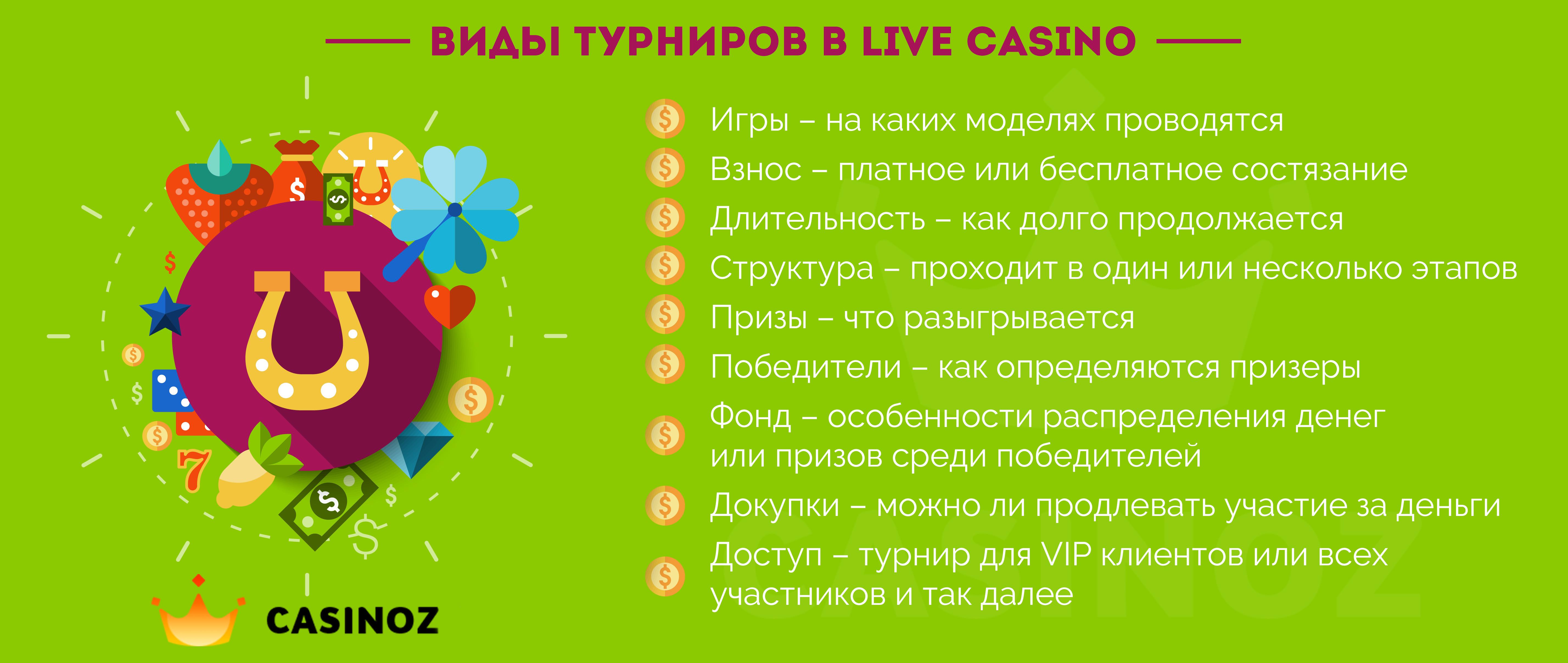 varieties of live online casino tournaments