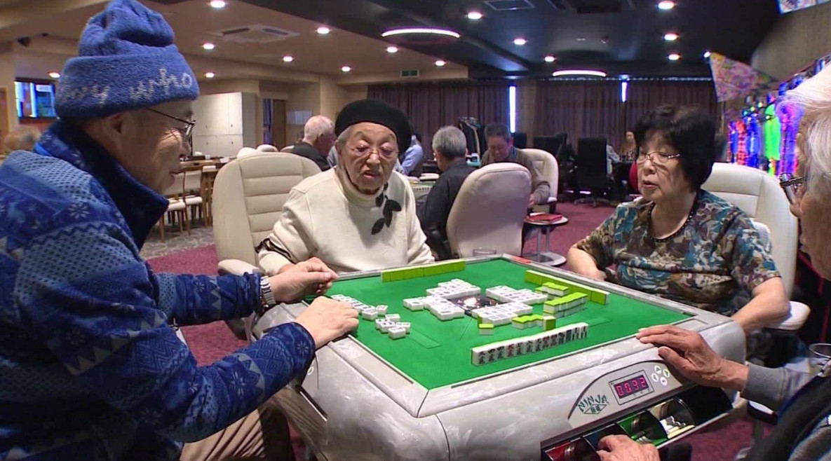 Old People Gamble at a Casino