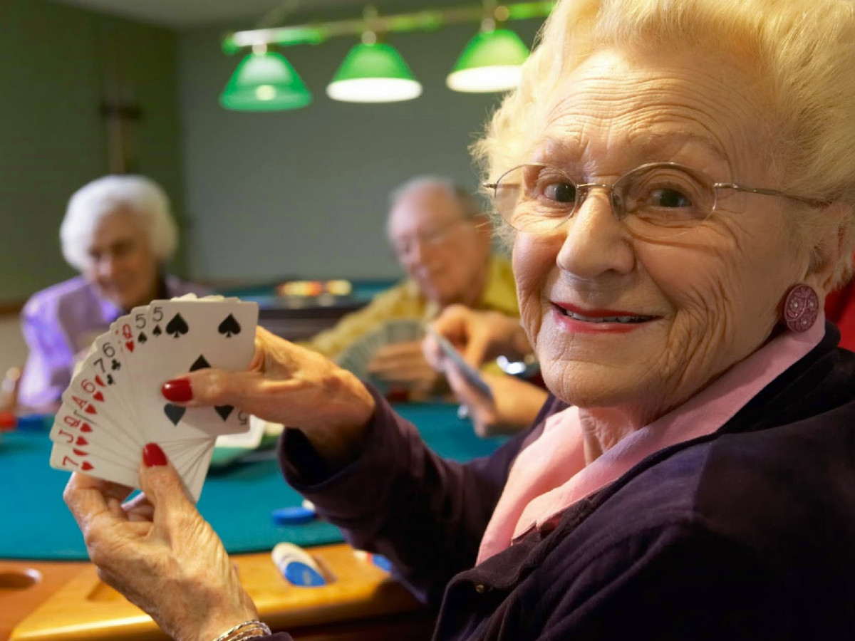 An Old Woman Playing Cards